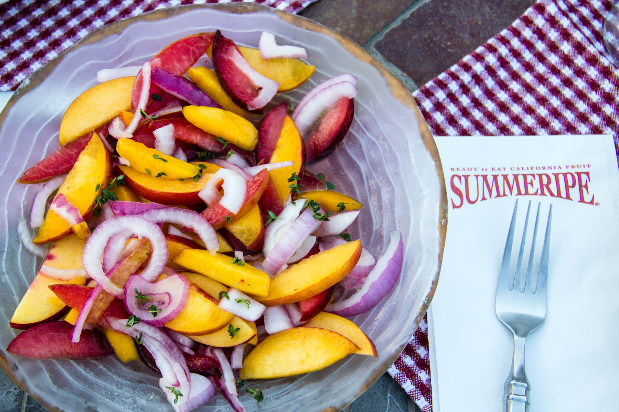 Summeripe Yellow Peach and Onion Salad